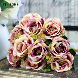 diy wedding bouquet roses NZ - YO CHO Bridal Bouquet Artificial Silk Rose Flower 10 Heads Flower Bridesmaid Bouquet Pink Champagne DIY Home Party Prom Wedding Supplies