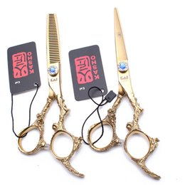 "$enCountryForm.capitalKeyWord NZ - 9005# 5.5"" 440C Gold Color Barber Scissors Cutting Shears Thinning Scissors Professional Hair Dragon Handle Haircut Set"