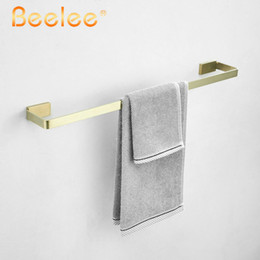 wall mounted towel bars Canada - Towel Bar Single Bars SUS304 Stainless Steel Brush Golden Bathroom Towel Rail Bar Towel Holder Wall Mount,Beelee BA19901BG