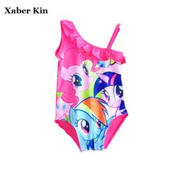 Horse Suit NZ - Little Horse Girls One Piece Swimsuit Children Girls Lovely Cartoon Swimwear Beachwear Girls Bathing Suits Swim 3-10Y G3-K293