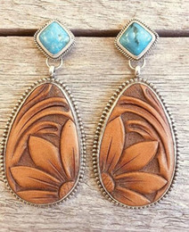 $enCountryForm.capitalKeyWord Australia - DHL Vintage drop Silver turquoise Trendy Sunflower Exaggerated Female Dangle Stud Earrings European and American style
