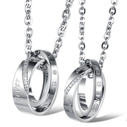 Happiness necklace pendant online shopping - Forever Love Couple Pendant Necklaces Happiness Commitment Lovers Trendy Romantic Designer Stainless Steel Double Rings Men Women Jewelry