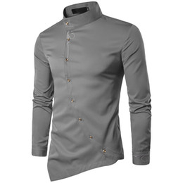 Wholesale colored collar shirt resale online – Ouma young men shirts Spring hairstylist nightclub personality oblique irregular multi colored shirt button