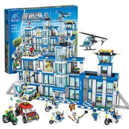 Toys Bricks Australia - New 1397pcs Big Police Station Motorbike Helicopter Model Building Bricks Kits Compatible Legoing City Educational Toys For Kids