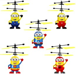 $enCountryForm.capitalKeyWord Australia - RC helicopter Drone Kids Toys Flying Ball Aircraft Led Flashing Light Up Toy Induction Electric Sensor for Children Minions 5 Styles