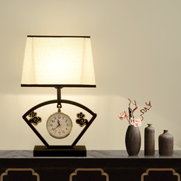Silver Bedside Tables Australia - New Chinese bedside table lamp home bedroom modern minimalist classical lamp study hotel wall clock desk light E27