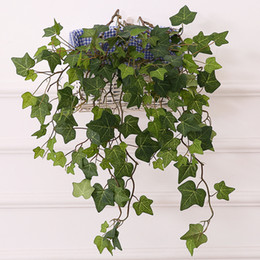 plastic scenery UK - 25.6'' High Class Sweetpotato Ivy Vine Artificial Plants Greeny Chain Wall Hanging Leaves for Home Room Garden Wedding Garland Outside Decor