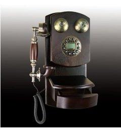 Venta al por mayor de madera antiguo teléfono montado en la pared antigua giratoria tarjeta inalámbrica fija de teléfono de la línea horizonte madera retro con cable telefónico a Europea