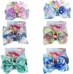 "Discount hair bow clips - 8"" Large JoJo swia Mermaid Ombre Ribbon Hair Bows For Girls Handmade Bow-knot Rainbow Hair Clip Kids Hair Accessori"