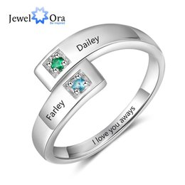 $enCountryForm.capitalKeyWord Australia - Personalized Women Rings with Birthstone Custom 2 Names Adjustable Engraved Promise Rings for Couples Jewelry(JewelOra RI103934)