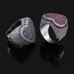 Love Ring Australia - Mens Red Blue Color Love Heart Ring Bling Bling Rings Micro Pave Cubic Zirconia 14K Gold Plated Luxury Simulated Diamonds Hip hop Ring