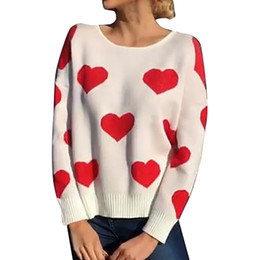 women s sweater hearts NZ - Women Round-Neck knitted Sweater cute Heart Shape printing loose Pullover Knitwear Top Blouse ladies female sweater mujer #ASS