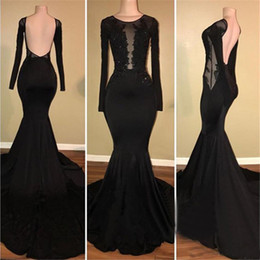 Wholesale shirt new design image online – design Backless Black Mermaid Long Sleeves Prom Dress New Design Illusion Appliques beaded Elastic Satin Long Evening Gowns Robe De Soiree