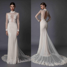 Long sLeeves fishtaiL wedding dresses online shopping - 2020 Sexy Berta Mermaid Long Sleeve Wedding Dresses Lace Applique High Neck Beads Hollow Back Sexy Illusion Fishtail Bridal Gowns
