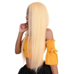 blonde human lace fronts UK - Glueless #613 Blonde Lace Front Human Hair Wigs Peruvian Straight Full Lace Wig Pre Plucked Honey Blonde Remy Lace Wigs