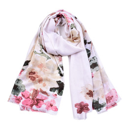 Scarfs Cotton Australia - Fashion New Cotton Ombre Floral Print Scarves Shawls 2019 Long Trendy Blossom Flower Fringe Wrap Scarf Hijab 4 Color Hot Sale Free Shipping