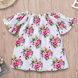 Lolita Flared Dress Australia - INS Baby girls dress 2019 summer new kids floral leaves printed princess dress children elastic slash neck flare sleeve dress F6709