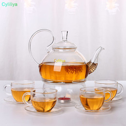 tea bloom NZ - 600ml Heat Resistant With High Handle Flower Coffee Glass Tea Pot Blooming Chinese Glass Teapots 20pcs new