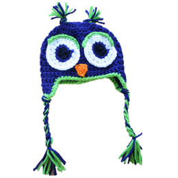 $enCountryForm.capitalKeyWord Australia - Adorable Crochet Blue Owl Hat,Handmade Knit Baby Boy Girl Animal Hat,Newborn Halloween Costume,Infant Toddler Photography Prop