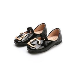 $enCountryForm.capitalKeyWord Australia - Kids Girls Single Shoes Princess Metal Button Flat sandals Elastic Band Little Girl Leather Shoes Joker Lovely