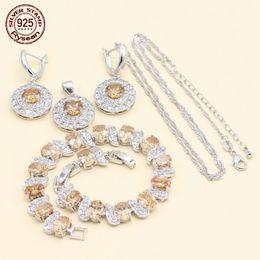$enCountryForm.capitalKeyWord NZ - 925 Silver Stamp Jewelry Set Women Birthday Gift Bracelet Necklace Pendant Earrings Orange White Cubic Zirconia