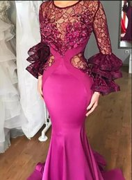 lace fuchsia evening dress Canada - Sheer Lace Long Sleeves Prom Dresses Fuchsia Color Satin Mermaid Evening Gowns South African Women Formal Party Dress Cheap Formal Wear