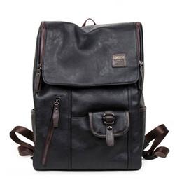 western style backpacks 2019 - New 2019 Men Oil Wax Leather Backpack Men's Casual Backpack & Travel Bags Western College Style Man Backpacks Kids