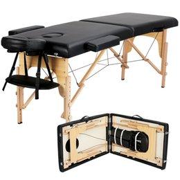 venda por atacado 2-Fold mesa de massagem portátil preto ajustável Facial SPA Salon cadeira cama tatuagem