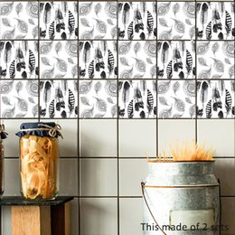 Classic Bathroom Decor NZ - Personalized Black White Feather Tile Sticker Waterproof Removable Self adhesive Wallpaper Wall sticker Bathroom Kitchen Art DIY Home Decor
