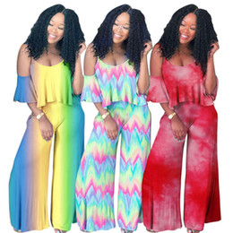 $enCountryForm.capitalKeyWord Australia - Women Two Piece Suit V neck T shirt Short Sleeve Off Shoulder Tops+ Falbala Pants Trousers Outfit Designer Tracksuit Summer Clothes