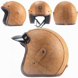 Leather Half Helmets Australia - High Quality PU Leather Helmet Retro Harlley Helmet 3 4 Half Face man woman Motorcycle Helmets