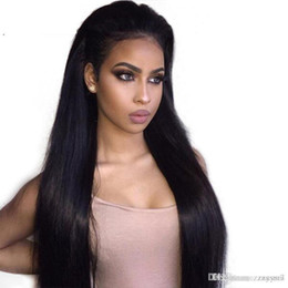 $enCountryForm.capitalKeyWord Australia - Beauty Brazilian Hair Long Straight Wig with Bangs Black Color Heat Resistant Synthetic Wig+wig Cap