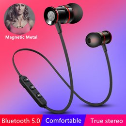 iphone earphones metal Australia - Magnetic Metal Wireless Bluetooth 5.0 Earphone Headphones Ear Hook Sports Gaming Headset Earphones For Phone Handsfree Earbuds
