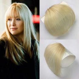 Toptan satış Tapınak ile 100% Gerçek İnsan Saç Saçak El Yapımı Klip Saç Uzatma Sarışın Wispy Saç Patlama