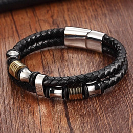23cm Silver Bracelets Australia - XQNI Genuine Leather Bracelet Double Layer 19 21 23CM Gold Silver Color Special Jewelry For Men Father's Day Gift Big Discount