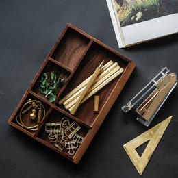 Wood Desk Storage Box Australia - Black Walnut Multi-Functional Distressed Vintage Wooden Storage Box,Office Desk&Drawer Organizer Tray,5 Division,Cosmetics Jewelry Storage