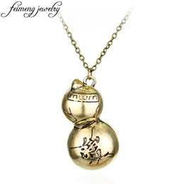 calabash necklaces UK - 10pcs Classic Anime Naruto Gaara Cucurbit Calabash Metal Pendant Necklace For Women And Men Charm Jewelry Gifts C19041203