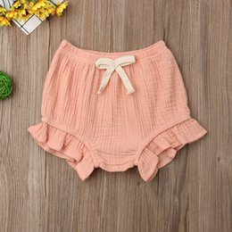 organic solids Canada - Infant Baby Girl Cotton Solid Color Ruffle PP Shorts Nappy Diaper Covers Bloomers Summer Clothes 0-18M