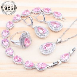 purple crystal costume jewelry Canada - Women Accessories Luxury Bridal Jewelry Sets Zirconia 925 Silver Costume Jewelry Earrings Bracelet Pendant Ring Necklace Sets