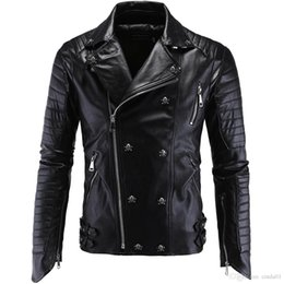 Wholesale faux leather for sale - Group buy Men PU Leather Jacket Biker Streetwear Winter Male Punk Style Jacket with Skull Buttons Zippers Asian Size M XL