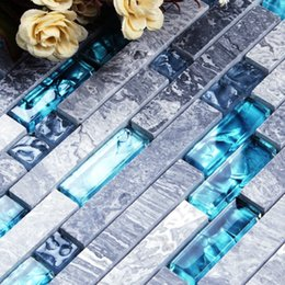 Parquet Flooring Wholesale Australia - Blue Resin Grey Marble Stone Long Strip Mashup Crystal Glass Mosaic Tile Kitchen Backsplash Bathroom Backdrop Wall and Floor Tiles
