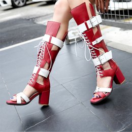 $enCountryForm.capitalKeyWord Australia - Hot Sale-2018 Knee High Summer Booties Cut out Cowskin High chunky heel Womens Buckle Boots