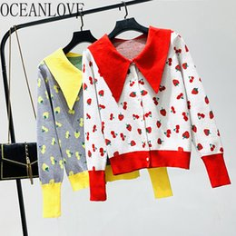 single pan Australia - OCEANLOVE Korean Sweet Cardigans Single Breasted Peter Pan Collar Print Fruits Women Sweaters 2019 Autumn Chaqueta Mujer 12920