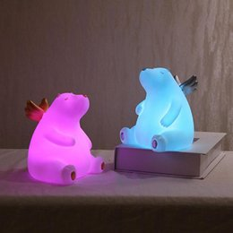 bears night light UK - Silicone Night Lamp Bear Night Light Color Light Kids Cute Night Lamp Bedroom Boy Light Gift Toy Pressure Reducer 10097
