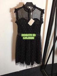 $enCountryForm.capitalKeyWord Australia - Women Brand Lace Rhinestone Waist Gold Mesh Gauze Vest Dress Girls Sleeveless T-Shirt Dress Tee Knee-Length Casual Female Runway Dress 2019