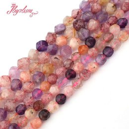 """$enCountryForm.capitalKeyWord NZ - 8mm 10mm Faceted Amethysts Rutilated Strawberry Quartz Bead Natural Stone Beads For DIY Jewelry Making 15"""" Free Shipping"""