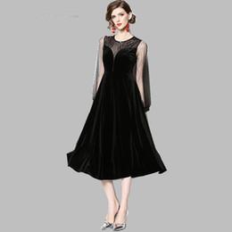 f95a236661 Spring New Vintage Velvet Long Dress Long Sleeve Runway Dresses Women s  Elegant Celebrity Mesh Patchwork Party Vestidos