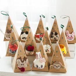 VelVet socks online shopping - Cute Animal Design Deer Christmas Socks D Fluffy Coral Velvet Thick Warm Winter Sock For kids New Year Gift with Box FFA3314