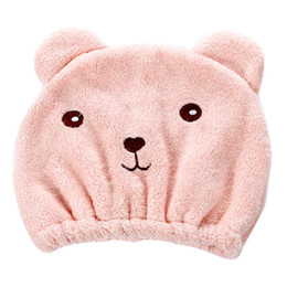 $enCountryForm.capitalKeyWord Australia - Shower Dry Hair Cap Soft Cute Bear Hat Quick-dry Cartoon Strong Absorbing Wrap Towel