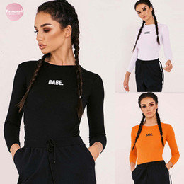 Wholesale clothing playsuits resale online – Woman Clothes Womens Jumpsuits Long Sleeve Stretch Playsuits Jumpsuit Bodysuit Bodysuits Leotard Tops T Shirts Drop Shipping